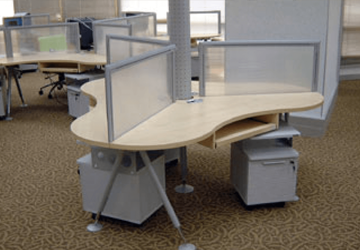 Glass office furniture setup